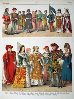 Costumes français du quinzième siècle. Source : http://data.abuledu.org/URI/53078b79-costumes-francais-du-quinzieme-siecle