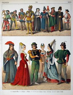 Costumes français du quinzième siècle. Source : http://data.abuledu.org/URI/53078caa-costumes-francais-du-quinzieme-siecle