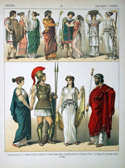 Costumes grecs de l'antiquité. Source : http://data.abuledu.org/URI/530b44db-costumes-grecs-de-l-antiquite