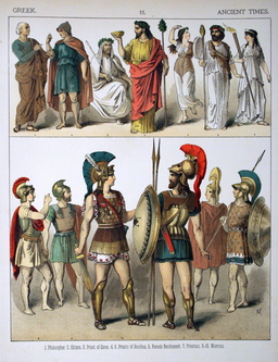 Costumes grecs de l'antiquité. Source : http://data.abuledu.org/URI/530b4987-costumes-grecs-de-l-antiquite