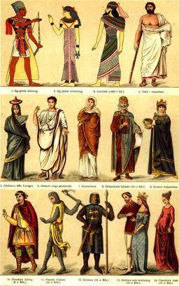 Costumes historiques antiques et médiévaux. Source : http://data.abuledu.org/URI/530ef41d-costumes-historiques-antiques-et-medievaux