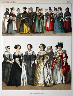 Costumes hollandais féminins du dix-septième siècle. Source : http://data.abuledu.org/URI/5309e7b1-costumes-hollandais-feminins-du-dix-septieme-siecle