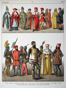 Costumes italiens du quatorzième siècle. Source : http://data.abuledu.org/URI/53076119-costumes-italiens-du-quatorzieme-siecle