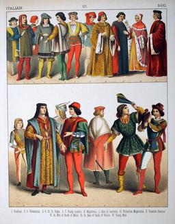 Costumes italiens du quinzième siècle. Source : http://data.abuledu.org/URI/5307a7d5-costumes-italiens-du-quinzieme-siecle