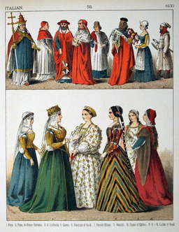 Costumes italiens du quinzième siècle. Source : http://data.abuledu.org/URI/5307a9b1-costumes-italiens-du-quinzieme-siecle
