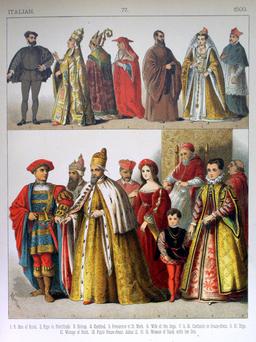 Costumes italiens du seizième siècle. Source : http://data.abuledu.org/URI/530862cd-costumes-italiens-du-seizieme-siecle