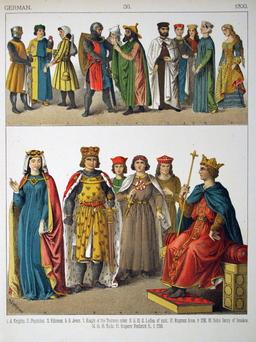 Costumes médiévaux allemands du XIIIème siècle. Source : http://data.abuledu.org/URI/53074670-costumes-medievaux-allemands-du-xiiieme-siecle
