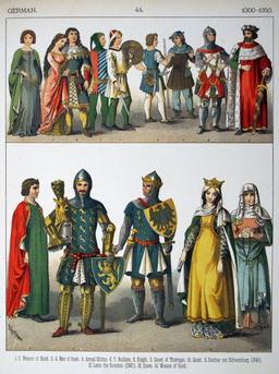 Costumes médiévaux allemands du XIVème siècle. Source : http://data.abuledu.org/URI/53078324-costumes-medievaux-allemands-du-xiveme-siecle