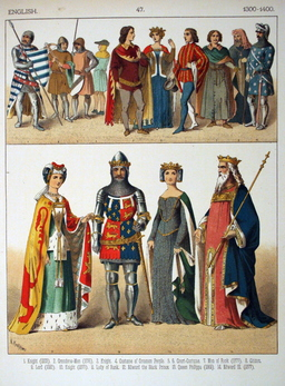 Costumes médiévaux anglais du quatorzième siècle. Source : http://data.abuledu.org/URI/53078741-costumes-medievaux-anglais-du-quatorzieme-siecle