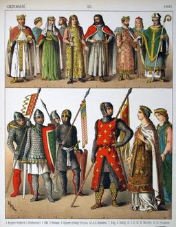 Costumes médiévaux du douzième siècle. Source : http://data.abuledu.org/URI/53073d7a-costumes-medievaux-du-douzieme-siecle