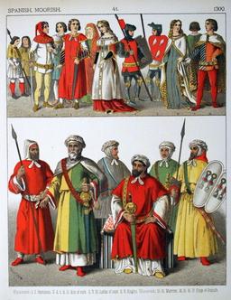 Costumes médiévaux espagnols au XIVème siècle. Source : http://data.abuledu.org/URI/5307811d-costumes-medievaux-espagnols-au-xiveme-siecle