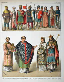 Costumes médiévaux français du dixième siècle. Source : http://data.abuledu.org/URI/530b29cf-costumes-medievaux-francais-du-dixieme-siecle