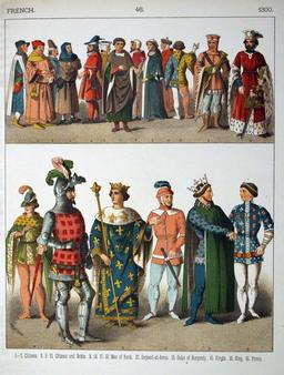 Costumes médiévaux français du quatorzième siècle. Source : http://data.abuledu.org/URI/53075d43-costumes-medievaux-francais-du-quatorzieme-siecle