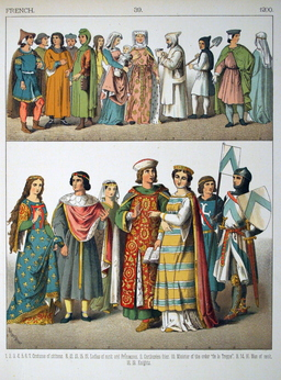 Costumes médiévaux français du XIIIème siècle. Source : http://data.abuledu.org/URI/5307426e-costumes-medievaux-francais-du-xiiieme-siecle
