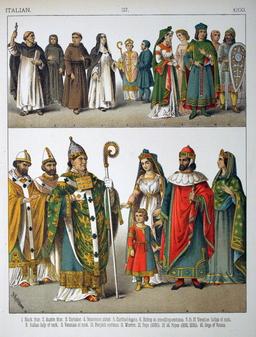 Costumes médiévaux italiens. Source : http://data.abuledu.org/URI/53075234-costumes-medievaux-italiens