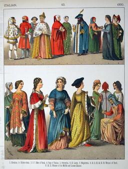 Costumes médiévaux italiens du Quatorzième siècle. Source : http://data.abuledu.org/URI/530763a4-costumes-medievaux-italiens-du-quatorzieme-siecle