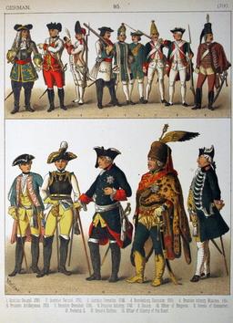 Costumes militaires allemands du dix-huitième siècle. Source : http://data.abuledu.org/URI/530a5825-costumes-militaires-allemands-du-dix-huitieme-siecle