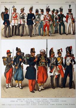 Costumes militaires en Europe entre 1834 et 1884. Source : http://data.abuledu.org/URI/530afd89-costumes-militaires-en-europe-entre-1834-et-1884