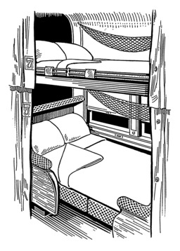 Couchettes superposées dans un navire. Source : http://data.abuledu.org/URI/53b9a1ba-couchettes-superposees-dans-un-navire