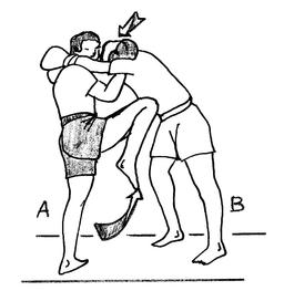 Coup de genou remontant en boxe birmane. Source : http://data.abuledu.org/URI/534d9b73-coupe-de-genou-remontant-en-boxe-birmane