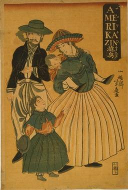 Couple américain vu par un artiste japonais en 1861. Source : http://data.abuledu.org/URI/55c29304-couple-americain-vu-par-un-artiste-japonais-en-1861