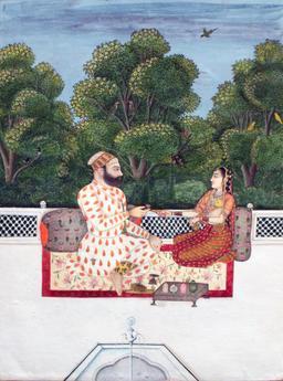 Couple royal sur une véranda. Source : http://data.abuledu.org/URI/53f4d97e-couple-royal-sur-une-veranda