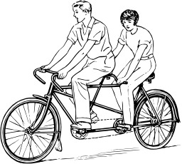 Couple sur un tandem. Source : http://data.abuledu.org/URI/53eb8ec3-couple-sur-un-tandem