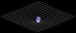 Courbure de l'espace-temps sous le poids de la Terre. Source : http://data.abuledu.org/URI/50ad84e7-courbure-de-l-espace-temps-sous-le-poids-de-la-terre