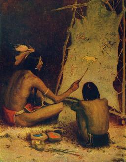 Cours d'histoire chez les indiens en 1902. Source : http://data.abuledu.org/URI/5336f611-cours-d-histoire-chez-les-indiens-en-1902