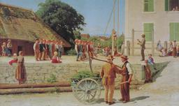 Cours de gymnastique au XIXème siècle. Source : http://data.abuledu.org/URI/519fae64-cours-de-gymnastique-au-xixeme-siecle