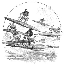 Course d'aéroflèches en 1893. Source : http://data.abuledu.org/URI/59e0f15a-course-d-aerofleches-en-1893