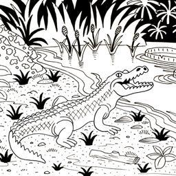 Crocodile au bord de la rivière. Source : http://data.abuledu.org/URI/52d72839-crocodile-au-bord-de-la-riviere