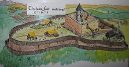 Croquis de château-fort médiéval. Source : http://data.abuledu.org/URI/54b838ce-croquis-de-chateau-fort-medieval