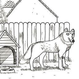 Croquis de chien près de sa niche. Source : http://data.abuledu.org/URI/53fbb021-croquis-de-chien-pres-de-sa-niche