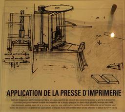 Croquis de la presse d'imprimerie par Léonard de Vinci. Source : http://data.abuledu.org/URI/55ccf6f2-croquis-de-la-presse-d-imprimerie-par-leonard-de-vinci