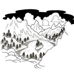 Croquis de lac de montagne. Source : http://data.abuledu.org/URI/53fddd9b-croquis-de-lac-de-montagne