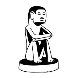 Croquis de statuette d'homme assis. Source : http://data.abuledu.org/URI/54008240-croquis-de-statuette-d-homme-assis