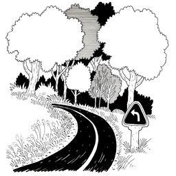 Croquis de virage à gauche en forêt. Source : http://data.abuledu.org/URI/540069a4-croquis-de-virage-a-gauche-en-foret