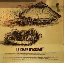 Croquis du char d'assaut par Léonard de Vinci. Source : http://data.abuledu.org/URI/55ccf3e3-croquis-du-char-d-assaut-par-leonard-de-vinci