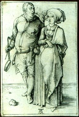 Cuisinier et sa femme au XV° siècle. Source : http://data.abuledu.org/URI/50fd70aa-cuisinier-et-sa-femme-au-xv-siecle