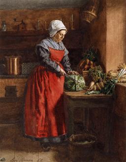 Cuisinière au tablier rouge. Source : http://data.abuledu.org/URI/514ee5fd-cuisiniere-au-tablier-rouge