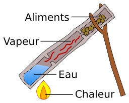 Cuisson à la vapeur dans un bambou. Source : http://data.abuledu.org/URI/51026afd-cuisson-a-la-vapeur-dans-un-bambou
