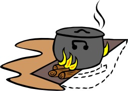 Cuisson en plein air à la marmite. Source : http://data.abuledu.org/URI/5454e30f-cuisson-en-plein-air-a-la-marmite