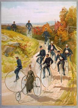 Cyclistes à grandes roues en 1887. Source : http://data.abuledu.org/URI/5316de57-cyclistes-a-grandes-roues-en-1887