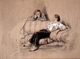 Dame sur un sofa. Source : http://data.abuledu.org/URI/5150f3b7-dame-sur-un-sofa