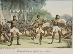 Danse des hommes dans les iles Sandwich en 1816. Source : http://data.abuledu.org/URI/5385b58e-danse-des-hommes-dans-les-iles-sandwich-en-1816