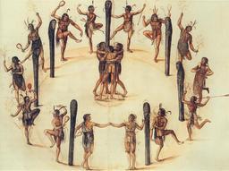 Danse rituelle des indiens sur l'oppidum de Secotam. Source : http://data.abuledu.org/URI/52665fd6-danse-rituelle-des-indiens-sur-l-oppidum-de-secotam