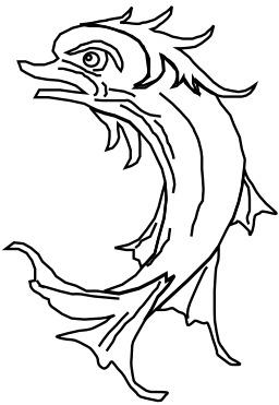 Dauphin en héraldique. Source : http://data.abuledu.org/URI/52ed8312-dauphin-en-heraldique