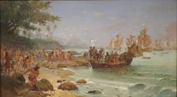 Débarquement de Pedro Álvares Cabral à Porto Seguro en 1500.. Source : http://data.abuledu.org/URI/56570f65-debarquement-de-pedro-lvares-cabral-a-porto-seguro-en-1500-