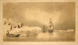 Débarquement sur une île de glace le 23 janvier 1838. Source : http://data.abuledu.org/URI/59804123-debarquement-sur-une-ile-de-glace-le-23-janvier-1838